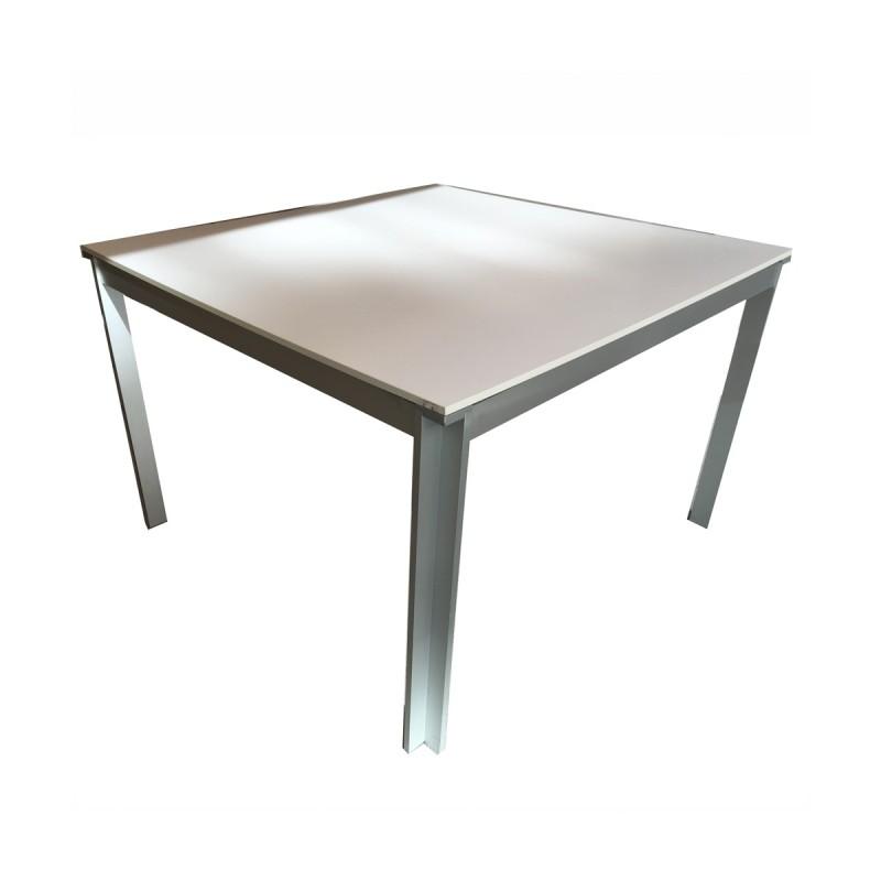Mesa de reunión cuadrada blanca con estructura aluminio 110 cm