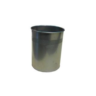 Papelera metálica con perforaciones