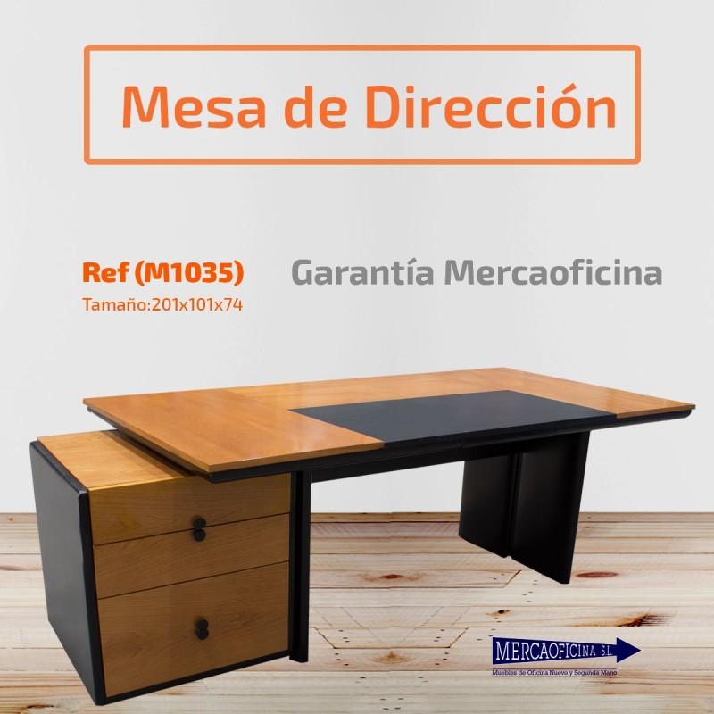 Mesa de dirección con cajonera color peral y negro