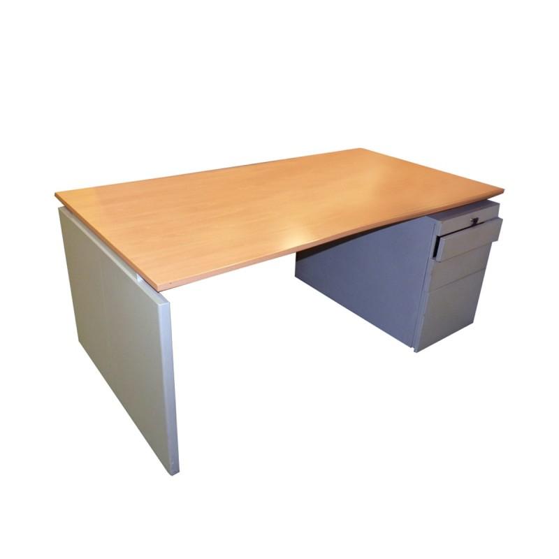 Mesa de oficina con cajonera integrada en melamina olmo y gris de 160 x 80