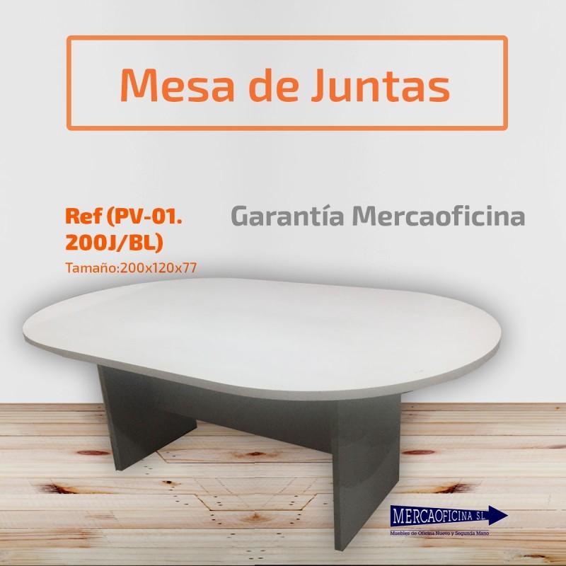Mesa de reunión de madera caoba claro barnizada de 130 cm