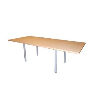 Mesa de juntas en melamina haya, patas cilíndricas metálicas de 240 x 100 cm