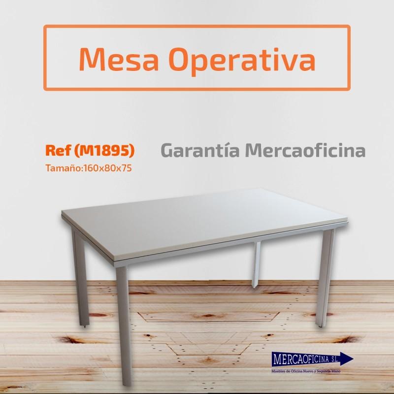 Mesa operativa ergonómica en melamina gris claro de 160 x 120 derecha