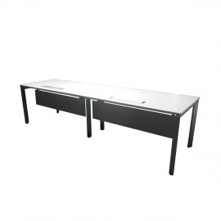 Grupo de 2 mesas adosadas estructura aluminizada, en blanco con pasacables, para dos puestos