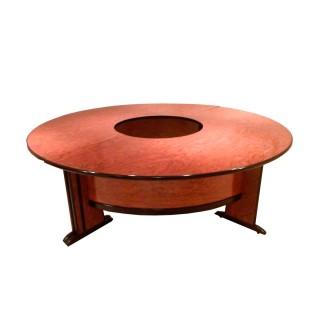 Mesa de juntas en bubinga y cantos en negro circular de 240 de diámetro