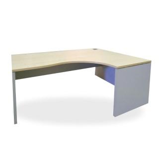 Mesa p.i melamina haya con pata panel  y faldón en gris de 160x80x74h