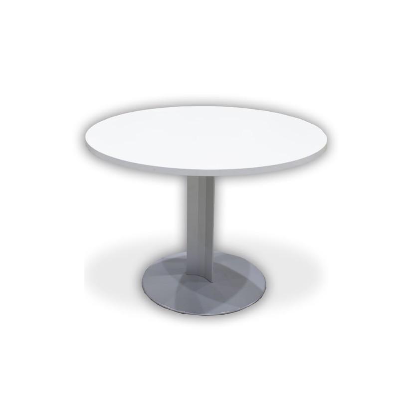 Mesa de reuniones redonda de 100 cm con cristal translúcido y peana metálica
