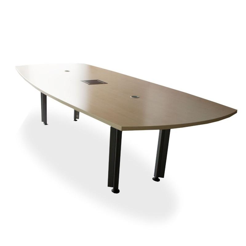 Mesa de juntas en madera NOGAL y melamina negra tapa con extremos ovalados y vadé central de 520 x 150 cm c