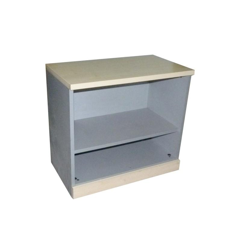 Armario estantería bajo en gris y haya y balda regulable superior