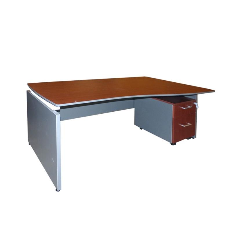 Mesa de dirección con ala y cajonera color wengue