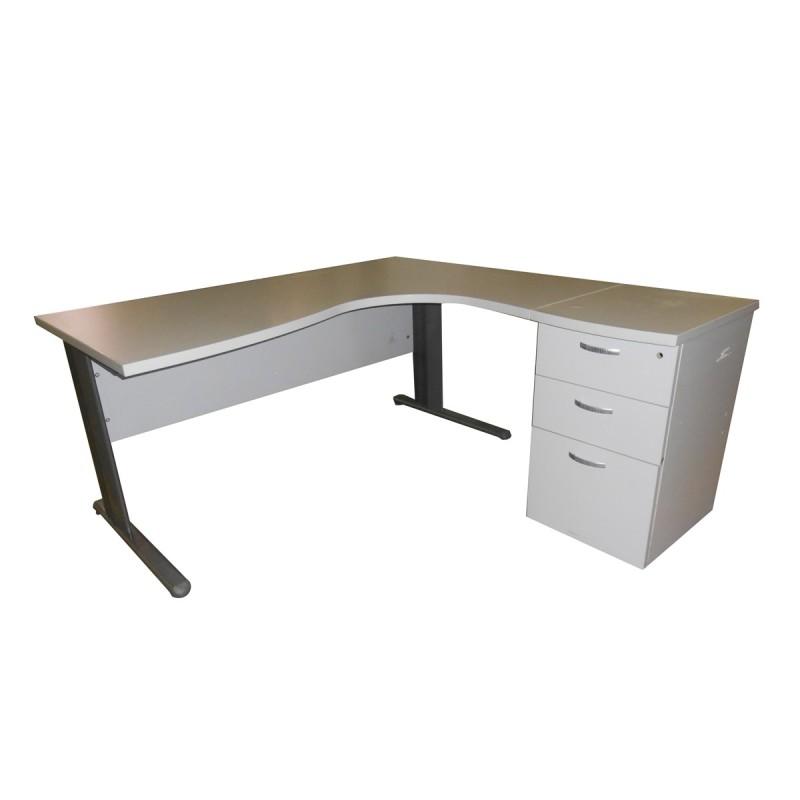 Mesa de oficina con cajonera integrada en arce y aluminizada