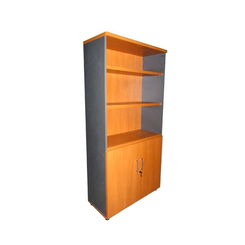 Armario-Estantería alto con puertas y estantes en color peral y antracita